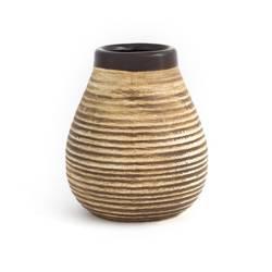 Matero ceramiczne miodowe w prążki 350ml
